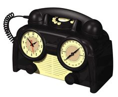 US Basic AM/FM Retro Clock Radio Phone* AM/FM radio Wake to radio or buzzer Snooze* Dial light button* Receiver and ringer volume control* Tone/pulse switchable Telephone Vintage, Vintage Phones, Vintage Toys, Poste Radio, Art Nouveau, Antique Phone, Antique Clocks, Vintage Clocks, Blog Art