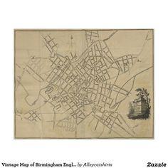 Vintage Map of Birmingham England (1809) Poster