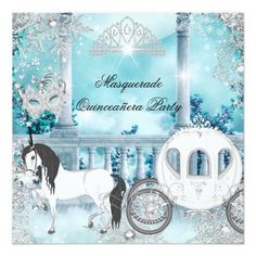 "Quinceanera Magical Princess Blue Horse Carriage 5.25"" Square Invitation Card"