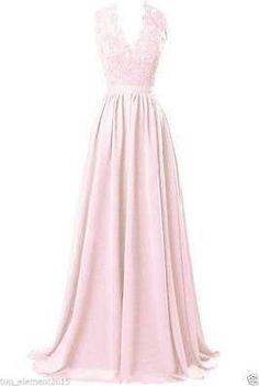 Stock Lace V-neck Long Evening Prom Formal Gown Wedding Party