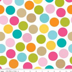 Listing for pick your size 1/2 yard and up of Multi Dots by Riley Blake Designs Summer Breeze by Bella BLVD. 100% cotton flannel    Pattern F3621 Multi - Dot. 42/43 wide    Multi colored dots on a white background. Circles have some patterns to the items like dots or stripes.    All fabric is cut from the bolt, so more or less yardage is available. Please send me a message if you are interested in an amount other than what the listing shows.    All fabric will be cut as one continuo...