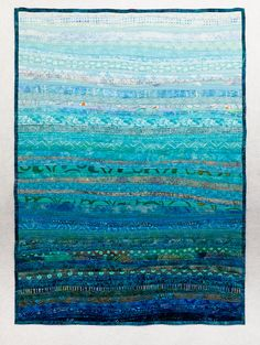 Fiber Art Quilt Ocean Currents Wall Hanging Decor by btaylorquilts