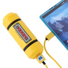 Disney Monsters INC Energy Tank Powerbank/Portable Charger The energy tank of Monsters, Inc. can now become the charger for your smartphone or tablet. With 2900 mAh it doesn't have that much juice but it sure is very cool to look at.