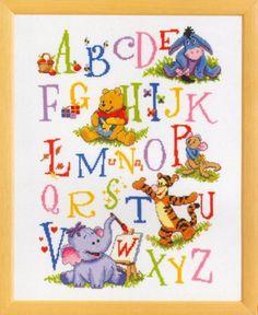 Winnie the Pooh cross stitch alphabet - I'd like to do this as a sampler for Amanda's room