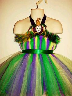Mardi Gras Costume, this could easily be done with Deco Mesh, Tulle, or Crinkle Sheer!