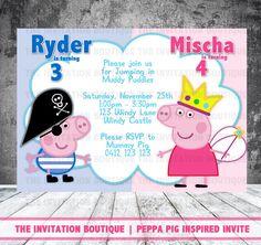 Peppa Pig y George cerdo invitación por TheInvitationBoutiqu