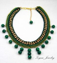 SALE Malachite Beads Gold Chain Necklace. Crochet. by ZegnaJewelry, $80.00