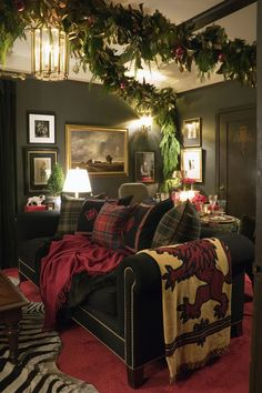 Pine, Plaid and Animal Print....For a Masculine, Cozy and Sophisticated Living Space!  See More at thefrenchinspiredroom.com