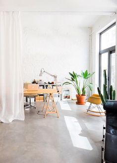 workspace divided by curtain