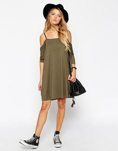 ASOS   ASOS T-Shirt Dress with Cold Shoulder and Elasticated Straps at ASOS