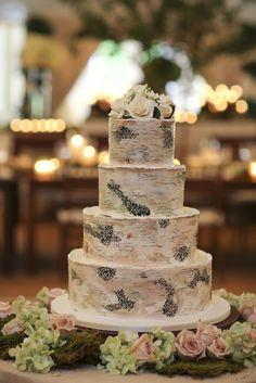 Birch - Wedding Cake by SweetSistersCakes.com. See the wedding on #smp here: http://www.StyleMePretty.com/little-black-book-blog/2014/04/14/jamie-dj-wedding-photo-video/ Photography: Clark + Walker - clarkwalkerstudio.com/