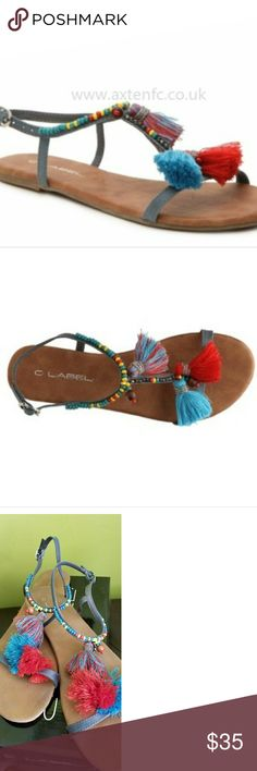 Tassel Sandals Super cute, beaded & tassel sandals. Worn twice. Comes in original box. C. Label Shoes Sandals
