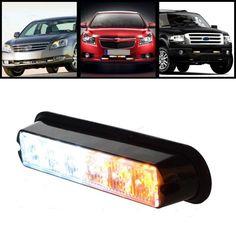14.39$  Watch now - White & Amber 6 LED Warning Beacon Emergency Car Truck Strobe Flash Light Bar  #buyonline