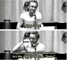 "So the beginning of this was an interviewer asking ""Do you still refrence your Harry Potter cast members by their character names?"" or something along those lines... :p I love Tom Felton! LOVE IT!!!!"