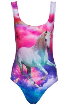 ROMWE | Unicorn In Rainbow Sky Print Swimsuit, The Latest Street Fashion  Cats' Heads Print Blue Skirt  http://www.planetgoldilocks.com/womens_clothing.htm #worldwide deals #fashions #swimwear