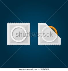 Flat Illustration of condom. Condom in a white pack. Isolated vector illustration on black. - stock vector