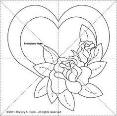 Peck's Pieces: Romance Series Block 3 - heart with flowers Applique Templates, Applique Patterns, Applique Quilts, Applique Designs, Quilting Designs, Embroidery Designs, Rose Applique, Embroidery Applique, Quilt Block Patterns