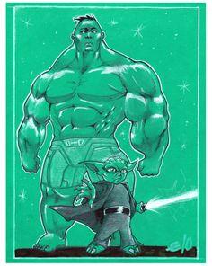 """Say My Name"" #Hulk #Yoda #Marvel #Starwars #Disney #Crayons #Markers #Drawing #TraditionalArt #Illustration #Pencils #DigitalColors #Fanart #Cartoon #PinUps #Anatomy #Perspective #VisualArts #Poses"