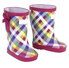 Plaid Wellies Rain Boots for 18 inch Doll Shoes American Girl or Baby Selection #Lovvbugg