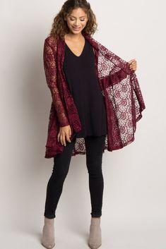 Burgundy Lace Peplum Kimono
