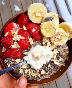 flax oats plus fresh strawberries, banana, muesli, peach yogurt & honey