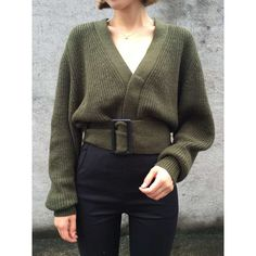 Army Green V Neck Long Sleeve Belted Cardigan (€33) ❤ liked on Polyvore featuring tops, cardigans, long sleeve v neck top, v-neck tops, olive green cardigan, olive cardigan and long tops