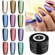 12 Colors Magic Mirror Chrome Effect Metallic Powder Set Nail Art Pigment