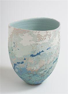 Vessel - Aqua wheel-thrown stoneware with vitreous slip and satin-matt glaze h. 15 cm