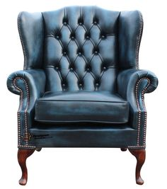 Chesterfield Flat Wing Queen Anne High Back Fireside Chair Antique Blue Leather R6850 in Pretoria