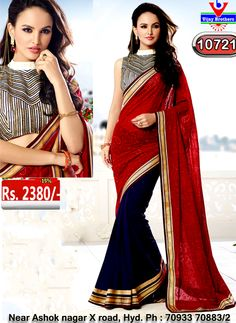 Georgette with red with black colour