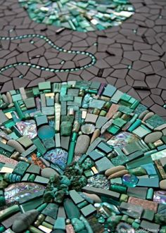 turquoise and blue mosaic