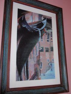 LUISA D'ACRI --  Trabalho em Pastel seco - 1995 - Reflexo em canal veneziano, gôndola e casario.