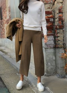 Cropped pants in a cool winter work look