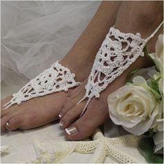 ATHENA Barefoot sandals, handmade crochet beach footless sandals, white | BF2 #boho #wedding #beach