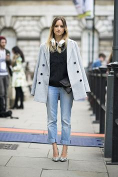 Denim Days Ahead: Oh how sophisticated your boyfriend jeans will look with your favorite menswear-inspired coat tossed nonchalantly over your shoulders.