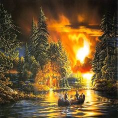 Evening Rendezvous by Terry Redlin. My Daddy and I shared a love for Terry Redlin art. This is one of the 3 pieces I own. Gifs, Terry Redlin, Thomas Kinkade, Gif Animé, Country Art, Outdoor Art, Wildlife Art, Magazine Art, Beautiful Paintings