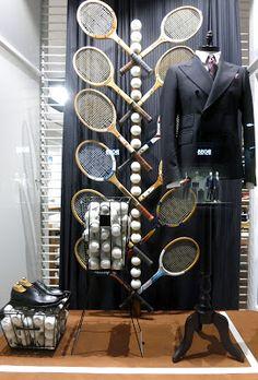 Shoe Display, Display Design, Badminton, Cadre Photo Polaroid, Louis Voitton, Tennis Decorations, Fashion Retail Interior, Tennis Shop, Store Window Displays