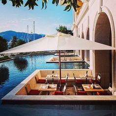 The Peninsula Hotels -Outdoor dining at the Regent Porto Montenegro hotel. Montenegro Hotel, Places To Travel, Places To Go, Peninsula Hotel, Coast Hotels, Architectural Digest, The Good Place, Beautiful Places, Beautiful Pools