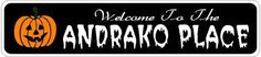 ANDRAKO PLACE Lastname Halloween Sign - Welcome to Scary Decor, Autumn, Aluminum - 4 x 18 Inches by The Lizton Sign Shop. $12.99. Aluminum Brand New Sign. Predrillied for Hanging. Great Gift Idea. 4 x 18 Inches. Rounded Corners. ANDRAKO PLACE Lastname Halloween Sign - Welcome to Scary Decor, Autumn, Aluminum 4 x 18 Inches - Aluminum personalized brand new sign for your Autumn and Halloween Decor. Made of aluminum and high quality lettering and graphics. Made to last for years ou...