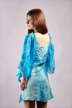 Boho Chic turquoise party dress nunofelting new by Baymut on Etsy, $284.00