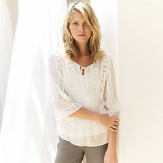 Silk Dobby Blouse | The White Company