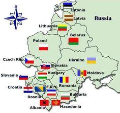 Leste Europeu - mapa - #ppow Russia - Moldova - Romania - Bulgaria - Macedonia - Albania - Bosnia - Croatia - Slovenia - Czech Rep. - Poland - Lithuania - Estonia - Ukraine - Hungary - FRY - Latvia