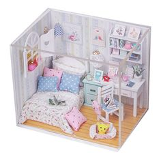 New Kits DIY Wood Dollhouse miniature with LED+Furniture+cover Doll house room #Hoomda