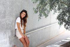 tan skirt white shirt cute necklace