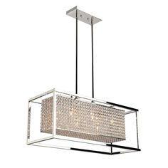 The Vega Horizontal Pendant features brilliant Crystal and a Polished Stainless Steel finish. Two 6 inch and six 12 inch rods are included. Canopy is included. Six 50 watt 120 volt JCD type G9 base halogen bulbs are included. 28.5 inch width x 5 inch height x 11.5 inch depth x 47 inch maximum hanging length.