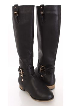 Strut your stuff in this hot to trot boots! Good for a long day at work with style. Just pair them with leggings and a sheer top for your ensemble of the day. Featuring a faux leather upper, buckle decor, pull up loops with buckle detail, stitched, side zipper closure, smooth lining, and cushioned foot bed. Approximately 12 in. shaft 16 in. circumference.
