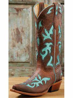 Johnny Ringo Boots Western Cowboy Leather w/Inlay
