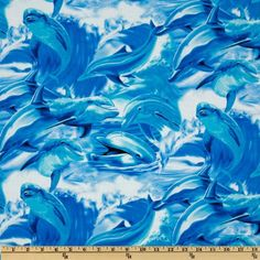 Timeless Treasures Dolphins Blue Fabric By The YD