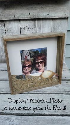 How to display vacation photos and keepsakes from the beach in a DIY rustic frame shadow box. Make a shadow box for displaying vacation photos and keepsakes