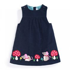Loving this JoJo Maman Bébé Navy Mouse Appliqué Pinafore Dress - Infant, Toddler & Girls onMischievous mice add playful panache to this timeless dress, and pure cotton coddles your princess with skin-pampering comfort. Girls Dresses Sewing, Frocks For Girls, Toddler Girl Dresses, Little Girl Dresses, Dress Sewing, Sewing Coat, Kids Dress Wear, Baby Dress Patterns, Skirt Patterns